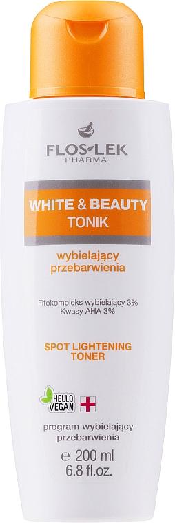 Tonik do twarzy wybielający przebarwienia - Floslek White & Beauty AHA Spot Lightening Toner