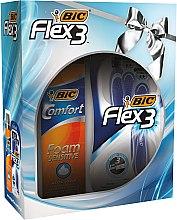Kup Zestaw - Bic Flex 3 Comfort (3 x razor + foam 200 ml)