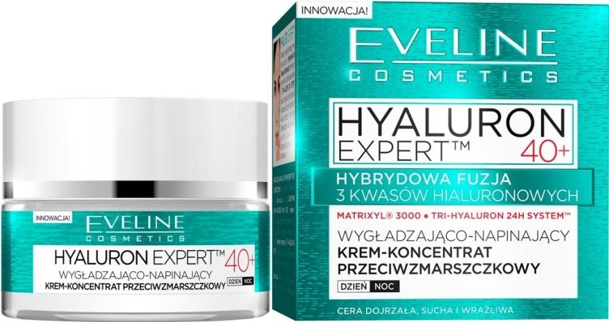 Wygładzająco-napinający krem-koncentrat przeciwzmarszczkowy - Eveline Cosmetics Hyaluron Expert 40+