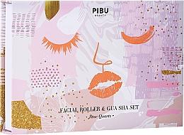 Kup Zestaw - Pibu Beauty Rose Quartz Facial Roller & Gua Sha Set (massager/2pcs)