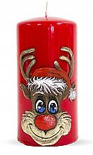 Kup Świeca dekoracyjna, czerwony walec, 7 x 14 cm - Artman Christmas Rudolf