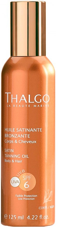 Atłasowy olejek do opalania - Thalgo Satin Tanning Oil SPF 6 — фото N1