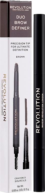 Kredka do brwi ze szczoteczką - Makeup Revolution Duo Brow Definer