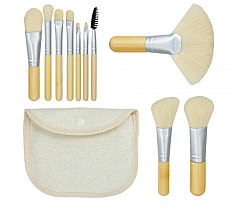 Kup Zestaw pędzli do makijażu Bamboo White 10szt + kosmetyczka - Tools For Beauty