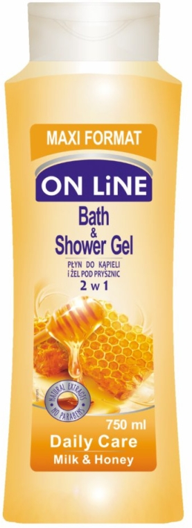 Żel pod prysznic i do kąpieli 2 w 1 Mleko i miód - On Line Daily Care Bath & Shower Gel Milk & Honey — фото N1
