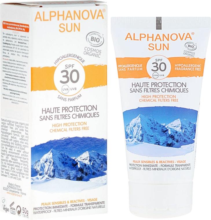 Hipoalergiczny krem przeciwsłoneczny do skóry suchej i wrażliwej SPF 30 - Alphanova Sun SPF 30 Sans Parfum Bio — фото N1