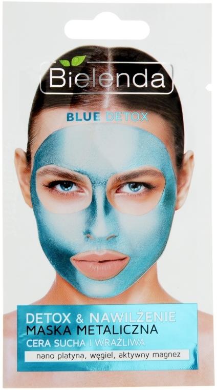 Maska metaliczna do cery suchej i wrażliwej Detox & Nawilżenie - Bielenda Blue Detox