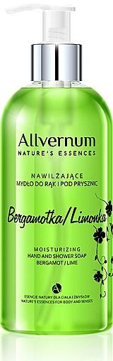 Nawilżające mydło do rąk i pod prysznic Bergamotka i limonka - Allvernum Nature's Essences