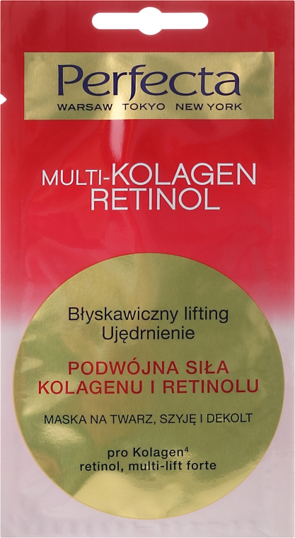 Maska na twarz, szyję i dekolt Podwójna siła kolagenu i retinolu - Perfecta Multi-Kolagen Retinol