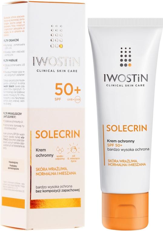 Krem ochronny do skóry wrażliwej, normalnej i mieszanej SPF 50+ - Iwostin Solecrin