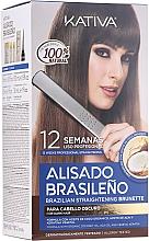 Kup Zestaw do keratynowego prostowania włosów dla brunetek - Kativa Alisado Brasileno Straighten Brunette (shm/15ml + mask/150ml + shm/30ml + cond/30ml + brush/1pcs + gloves/1pcs)