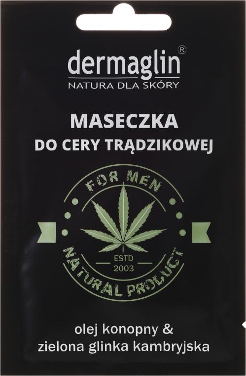 Maseczka do cery trądzikowej dla mężczyzn z olejem konopnym i zieloną glinką kambryjską - Dermaglin Natural Product For Men