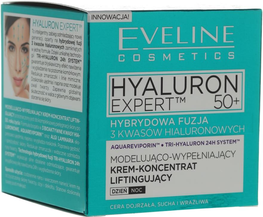 Modelująco-wypełniający krem-koncentrat liftingujący na dzień i na noc 50+ - Eveline Cosmetics Hyaluron Expert