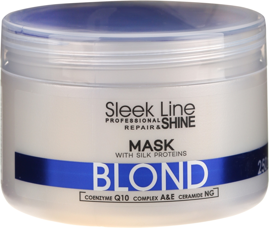 Naprawczo-nabłyszczająca maska do włosów blond, siwych i rozjaśnianych niwelująca żółte tony - Stapiz Sleek Line Repair & Shine Blond Mask