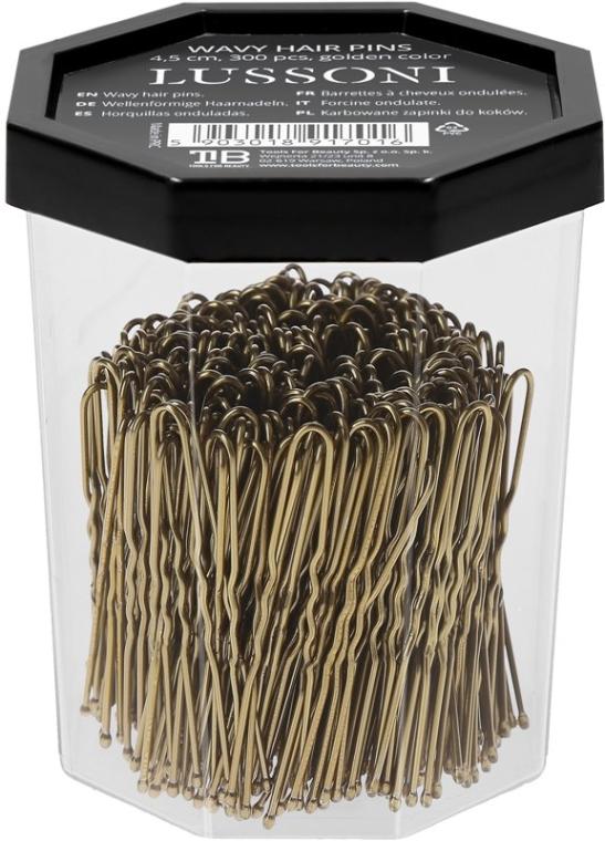 Wsuwki do włosów, złote - Lussoni Wavy Hair Pins 4.5 cm Golden — фото N2