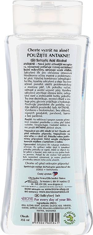 Przeciwtrądzikowy alkohol salicylowy do twarzy Drzewo herbaciane i mentol - Bione Cosmetics Antakne Salicylic Spirit Tea Tree and Menthol — фото N2