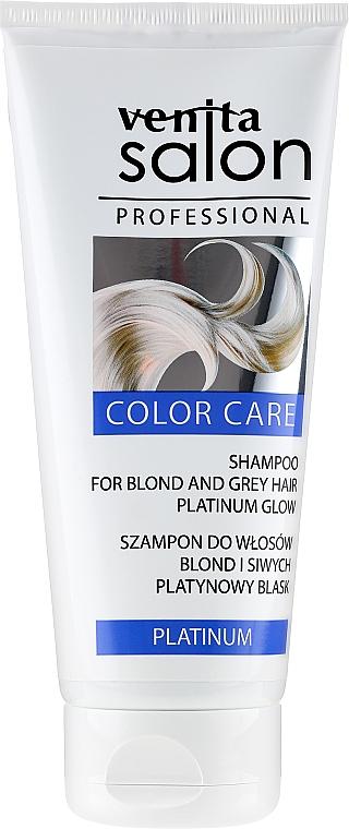 Rozświetlający szampon do włosów blond i siwych - Venita Salon