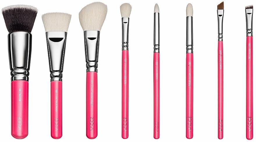 Zestaw pędzli do makijażu w kosmetyczce - ZOEVA Pink Elements Classic Set (8 brushes + clutch) — фото N2