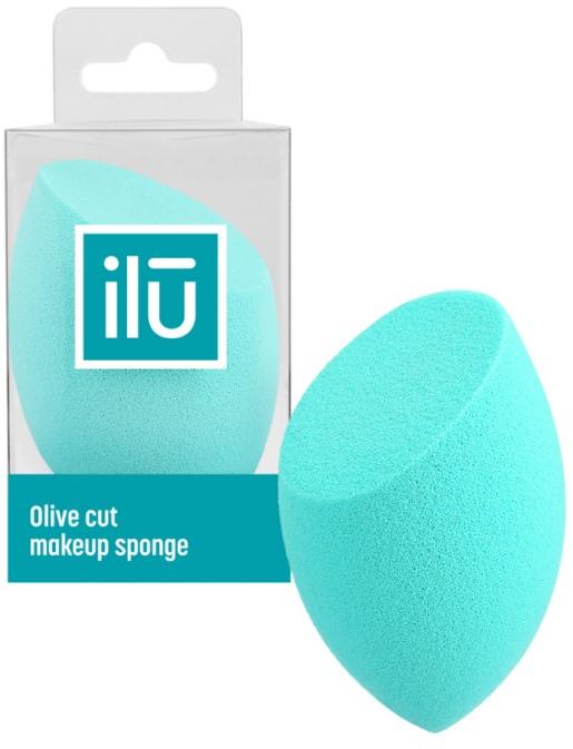 Gąbka do makijażu z płaskim cięciem, turkusowa - Ilu Sponge Olive Cut Turquoise