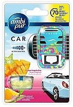 Kup Zestaw do samochodu, dyfuzor + wkłady zapachowe, owoce tropikalne - Ambi Pur (freshener/1szt+refill/7ml)
