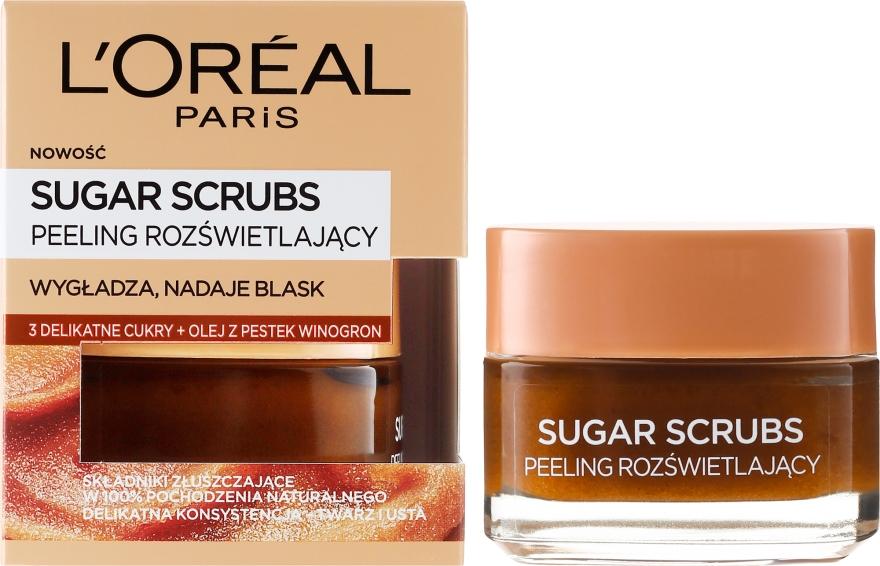 Rozświetlający peeling do twarzy i ust - L'Oreal Paris Sugar Scrubs Glow Peeling