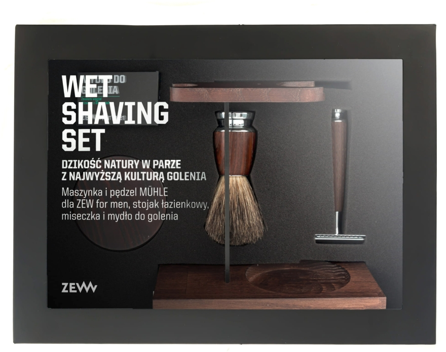 Zestaw - Zew For Men Wet Shaving Set (soap/85ml + razor/1psc + sh/brush/1pcs + sh/cup/1pcs + sh/stand/1pcs) — фото N1