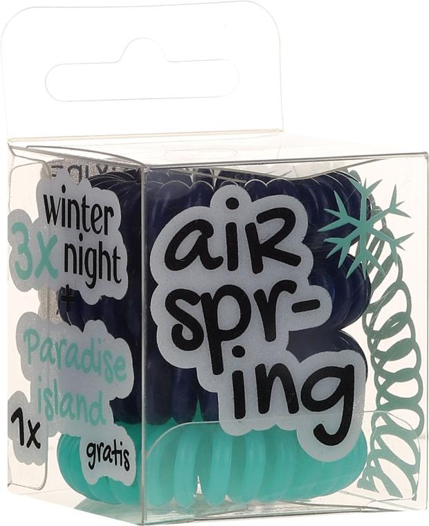 Gumki do włosów, granatowe + turkusowe, 4 szt. - Hair Springs