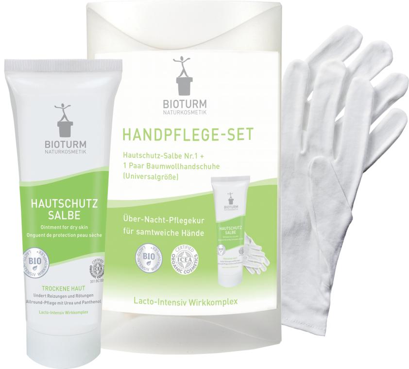 Zestaw do pielęgnacji suchych rąk - Bioturm Hand Care Set (cr/50ml + gloves) — фото N1