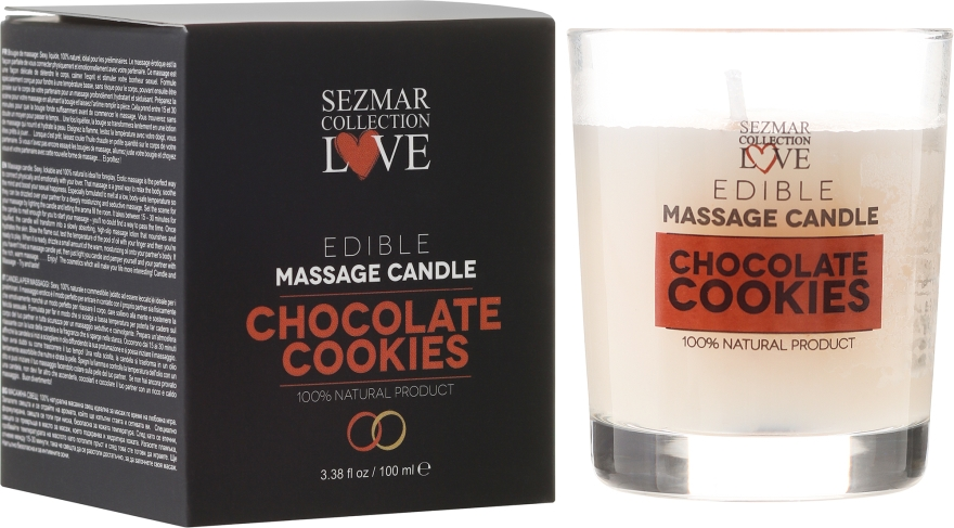 Naturalna świeca do masażu Czekoladowe ciasteczka - Sezmar Collection Love Edible Massage Candle — фото N1