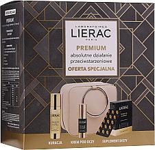 Kup Zestaw przeciwstarzeniowy do twarzy - Lierac Premium (30 x capsules + ser 30 ml + eye/cr 15 ml + pouch)