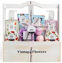Kup PRZECENA! Zestaw - IDC Institute Vintage Flowers (sh/g 240 ml + b/lot 50 ml + b/scrub 50 ml + salt 100 g + soap 4 x 3 g + bath/foam 240 ml + h/lot 100 ml + bomb 2 x 40 g) *