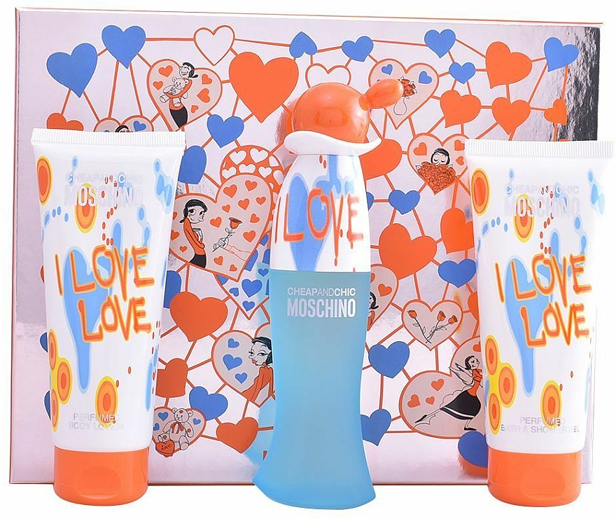 Moschino I Love Love - Zestaw (edt/50ml+b/lot/100ml+sh/gel/100ml) — фото N1