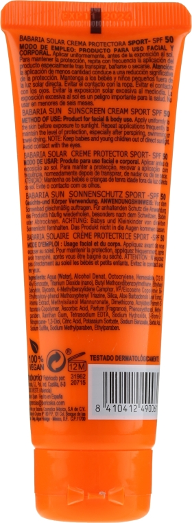Ochronny krem do twarzy z filtrem SPF 50 - Babaria Sport Sunscreen Cream Spf 50 — фото N2
