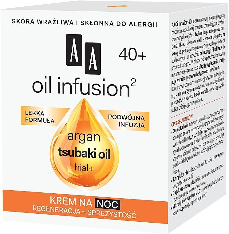 Krem do twarzy na noc Regeneracja + sprężystość - AA Oil Infusion2 40+ — фото N2