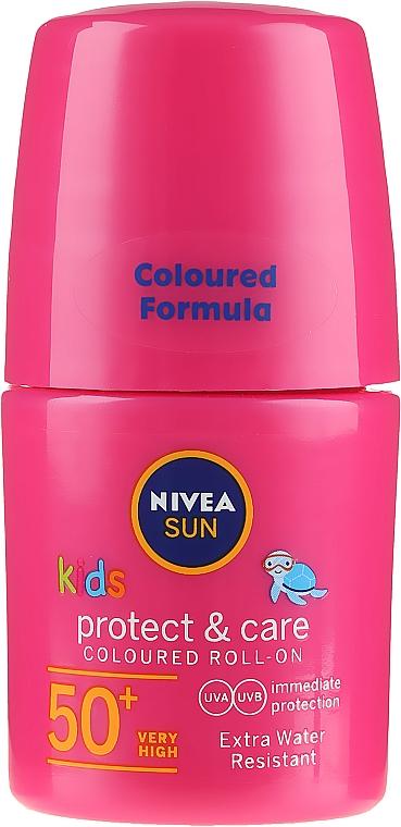 Ochronny krem dla dzieci - Nivea Sun Kids Protect & Care Coloured Roll-on Pink SPF 50+ — фото N1