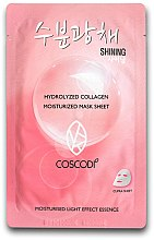 Kup Nawilżająca maska kolagenowa do twarzy - Coscodi Hydrolyzed Collagen Moisturized Mask Sheet Shining