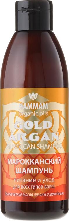 Marokański odżywczo-pielęgnacyjny szampon do włosów z olejami arganowym i makadamia - Hammam Organic Oils Gold Argan Shampoo — фото N1