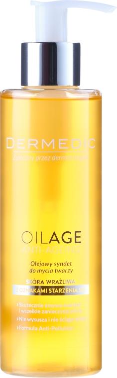 Olejowy syndet do mycia twarzy do skóry wrażliwej z oznakami starzenia się - Dermedic Oilage Face Cleansing Oil Syndet