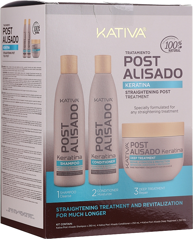 Zestaw - Kativa Straightening Post Treatment Keratin (shm 250 ml + cond 250 ml + mask 250 ml)