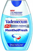 Kup PRZECENA! Pasta do zębów i płyn do płukania jamy ustnej 2 w 1 - Vademecum MentolFresh 2in1 Toothpaste + Mouthwash *