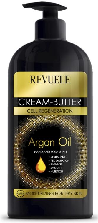 Nawilżający krem-masło do rąk i ciała 5 w 1 z olejem arganowym - Revuele Argan Oil Cream-Butter