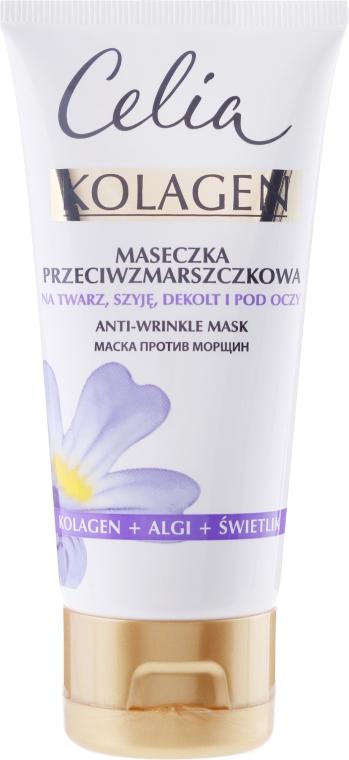 Przeciwzmarszczkowa maseczka na twarz, szyję, dekolt i pod oczy Kolagen, algi i świetlik - Celia Kolagen