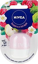 Nawilżający balsam do ust - Nivea Pop-Ball Raspberry & Apple Lip Balm — фото N1