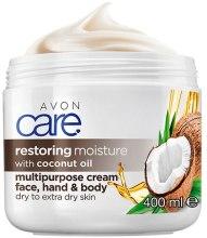 Kup Odbudowujący krem nawilżający do ciała, twarzy i rąk z olejem kokosowym - Avon Care Restoring Moisture Face, Hand & Body Cream With Coconut Oil
