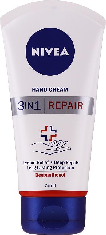 Krem do rąk do suchej i popękanej skóry - Nivea 3in1 Repair Hand Cream — фото N1