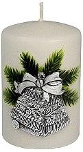 Kup Świeca dekoracyjna Srebrny świąteczny dzwonek, 7 x 10 cm - Artman Christmas Bell Candle