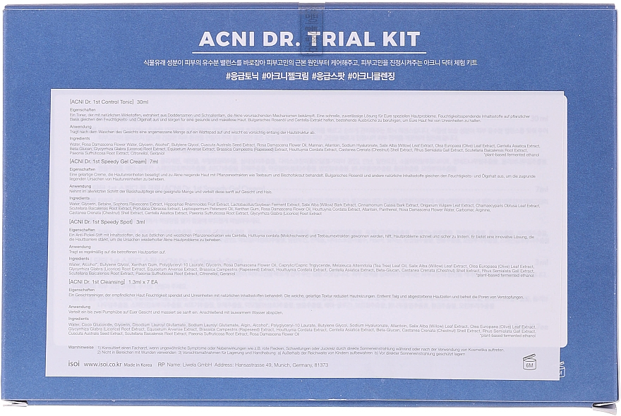 Zestaw - Isoi Acni Dr. Trial Kit (tonic/30ml + gel/cr/7ml + ser/3ml + gel/7x1.3ml) — фото N6