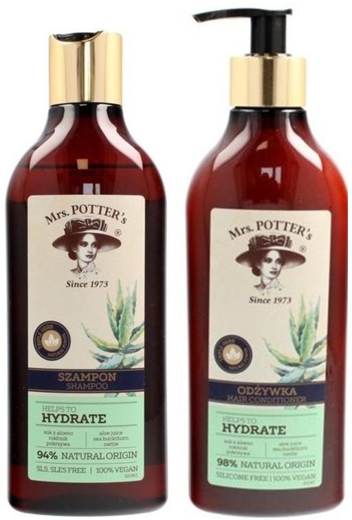 Zestaw nawilżający do włosów przesuszonych - Mrs. Potter's Triple Herb (shm 390 ml + cond 390 ml)