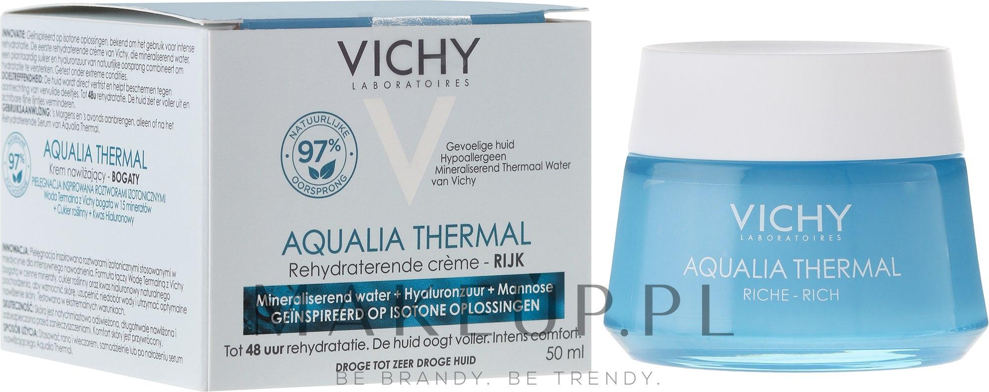 Bogaty krem intensywnie nawilżający do skóry suchej i bardzo suchej - Vichy Aqualia Thermal Rich Cream — фото 50 ml
