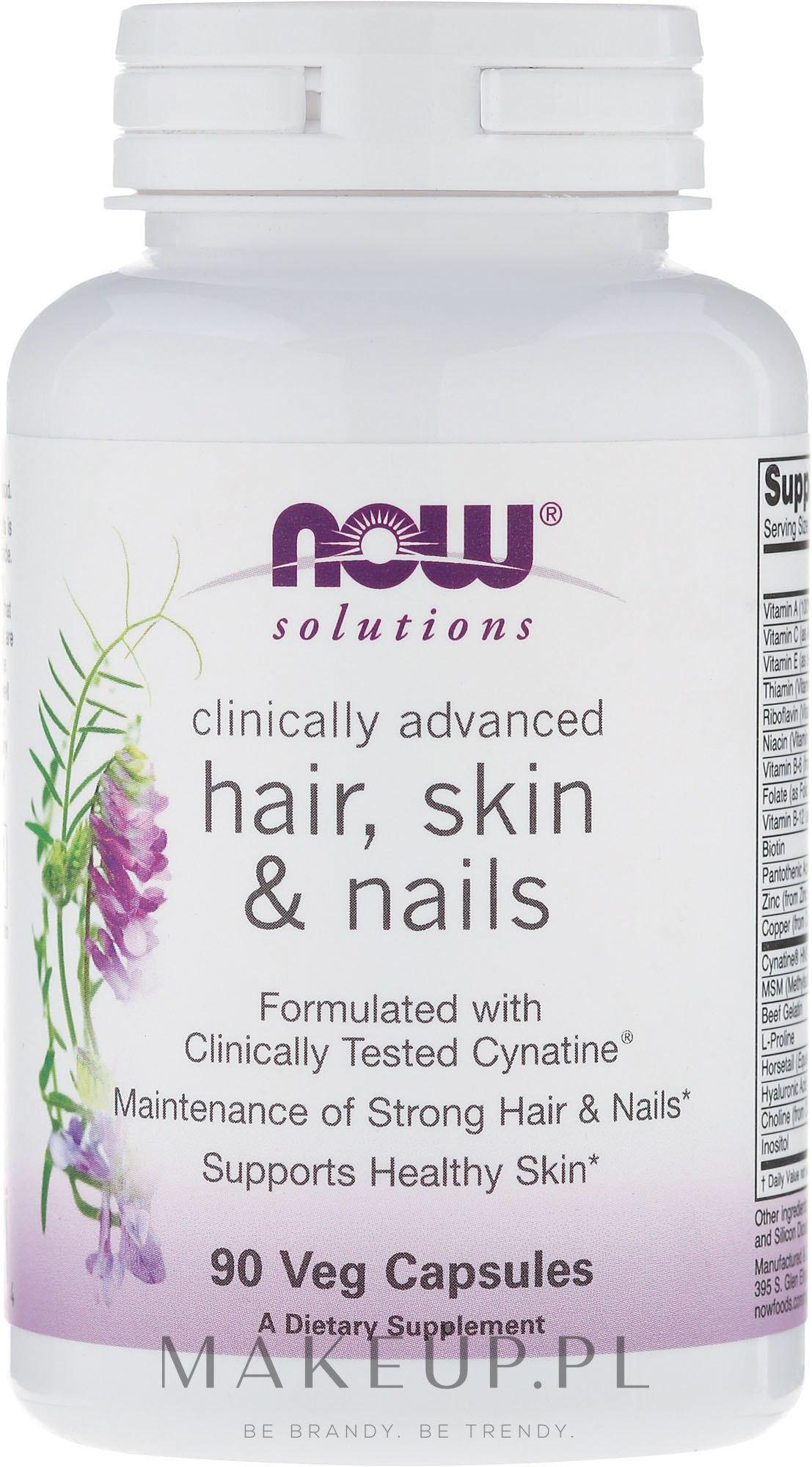 Wegańskie kapsułki na zdrowe włosy, skórę i paznokcie - Now Foods Solutions Hair, Skin & Nails — фото 90 szt.